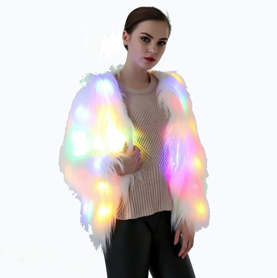 About Beauty San Valentino LED Costume Cappotto di Pelliccia, Luce Lampeggiante LED Finto Cappotto di Pelliccia Caldo Costume,XL