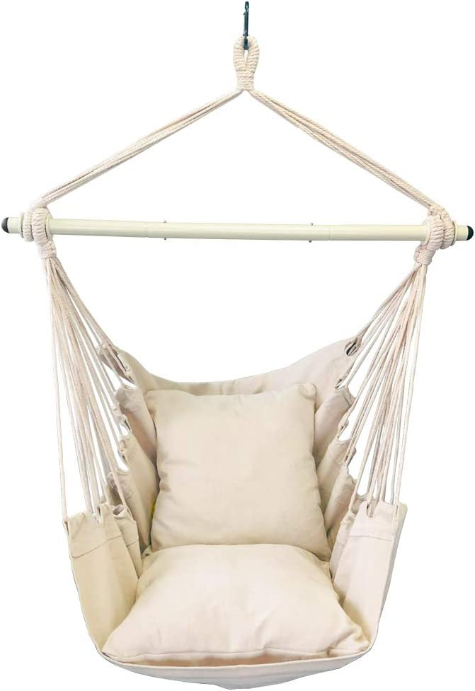 Highwild Hammock Chair Hanging Rope Swing - Max 500 Lbs - 2 Cushions Included - Steel Spreader Bar with Anti-Slip Rings - for Any Indoor or Outdoor Spaces (Beige): Kitchen & Dining
