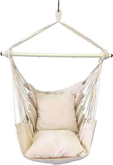 Highwild Hanging Rope Hammock Chair Swing Seat for Any Indoor or Outdoor Spaces – 500 lbs Weight Capacity – 2 Seat Cushions Included Beige