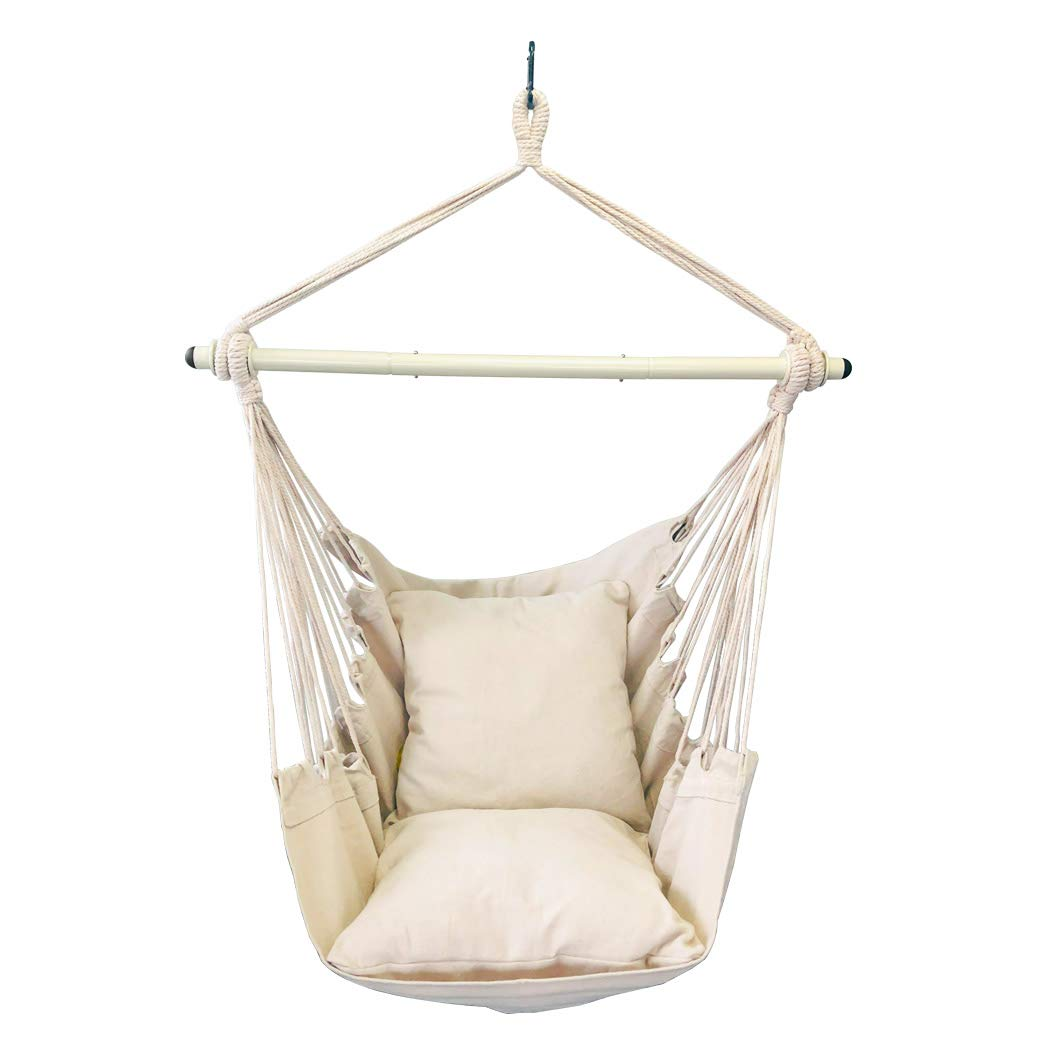 Highwild Hammock Chair Hanging Rope Swing - Max 500 Lbs - 2 Cushions Included - Steel Spreader Bar with Anti-Slip Rings - for Any Indoor or Outdoor Spaces (Beige)