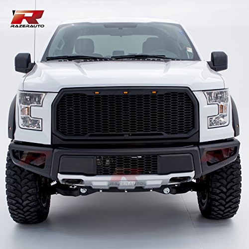 (Razer Auto Black Front Bumper with Silver Painted Skid Plate Raptor Styling for 15-17 Ford F150 )