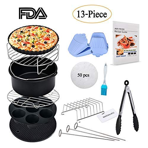 Air Fryer Accessories 13pcs Fits all 3.7QT- 4.2QT - 5.3QT for Gowise Phillips and Cozyna - Non-stick Barrel/Pan, Stainless Steel Holder, Silicone Mat, Cookbook Included