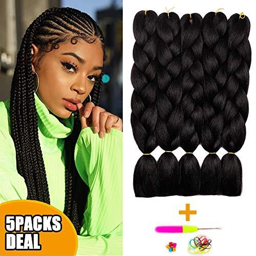 - Jumbo Braiding Synthetic Hair Braids 24Inch 5 Packs/lot Phoenixfly Natural Black Kanekalon Fiber Crochet Hair for Box Braids Senegal Mambo Twist Hair Extensions (#1B Natural Black)