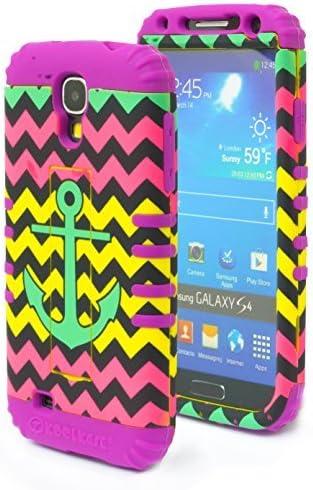 Galaxy S4, Bastex carcasa híbrida de alta resistencia morado carcasa de silicona suave con rosa amarillo