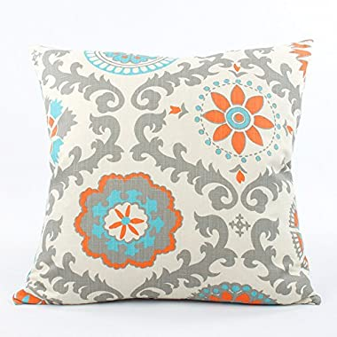 Pinwheel Double-sided 20  Accent Pillow with Insert - Floral Pinwheel and Polka Dot - Orange, Turquoise, Blue, Gray, Cream - 1 Pillow, 2 Looks