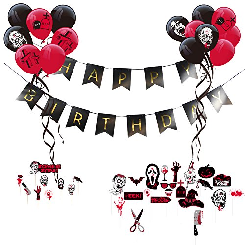 Zombie Party Theme Happy Birthday Decoration Kit Latex Balloons Scary Photo Booth Props Halloween Party Supplies SUNBEAUTY ()