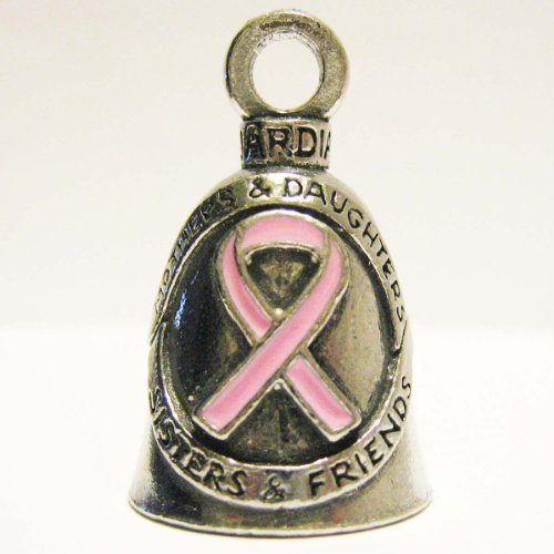 Guardian Breast Cancer Awareness Ribbon Motorcycle Biker Luck Gremlin Riding Bell or Key Ring (Bell Pink Ribbon)