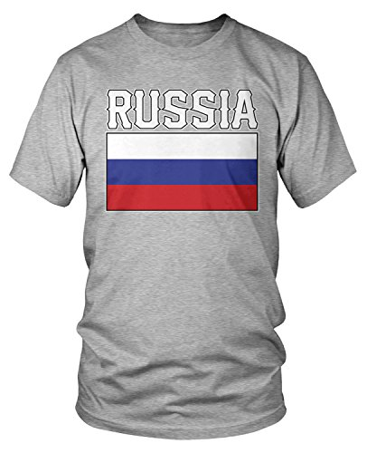 Amdesco Men's Russian Flag, Rossiya Flag of Russia T-shirt, Heather Gray Large Russia Flag T-shirt