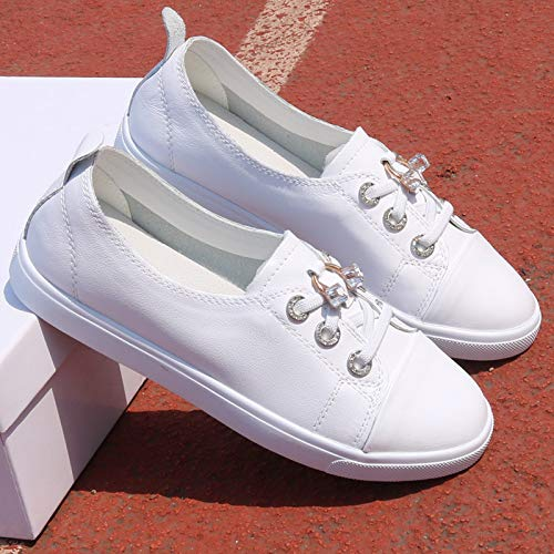 Leisure Pedals A Spring White Loose White Leather Small Students Shoes And Shoes Lazy Shoes KPHY Hundred Yq7wx5RnB