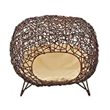 "Pawhut 24"" Oval Rattan Wicker Elevated Cat Bed - Brown/Light Yellow"