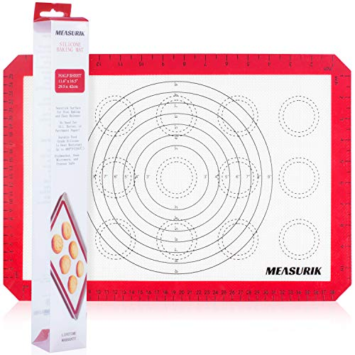 Silicone Macaron Baking Mat - Non-Stick 11 5/8''(W)16.5''(L) Silicone Macaroon Baking Cookie Sheet Food Grade BPA Free Reusable Oven Liner for Baking With Measurement for Pie, Bread, Pastry and Bread