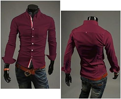 TOOGOO(R)) Camisas de otoño de Vino Tinto para Hombre, con ...