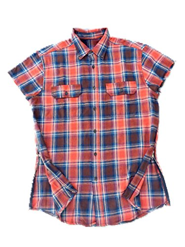 Orange/Blue Fear of God Inspired Short Sleeve Flannel w/ Side - Shirt Button Bieber Justin Down