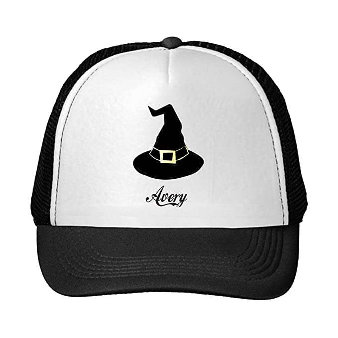 31b6cee559c Personalized Custom Text Black Witch Hat Unisex Adult Snaps Polyester  Trucker Hat Adjustable Cap - Black