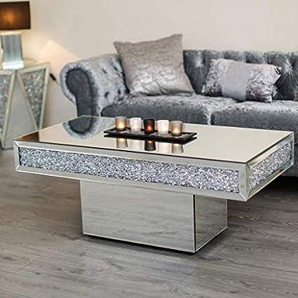 Groovy Diamond Crush Mirror Crystal Coffee Table Dailytribune Chair Design For Home Dailytribuneorg