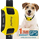 AngelaKerry Wireless Dog Fence System with GPS, Outdoor Pet Containment System Rechargeable Waterproof Collar 850YD Remote for 15lbs-120lbs Dogs (1pc GPS Receiver by 1 Dog)