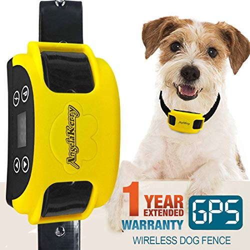 (AngelaKerry Wireless Dog Fence System with GPS, Outdoor Pet Containment System Rechargeable Waterproof Collar EF 851S Remote for 15lbs-120lbs Dogs (1pc GPS Receiver by 1 Dog))