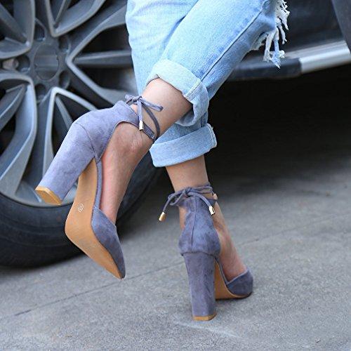 Sandals Femme à Gris Élégant Cheville Minetom Sandales Lacets Bouche Nœud Enroulé Profondes Suède Talons Eté Chaussures Talons Hauts Peu v4UUd