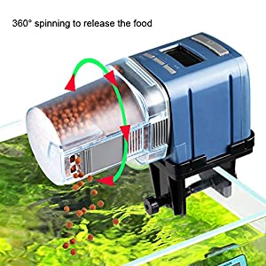 COODIA Auto Fish Food Feeder Battery Operated Automatic Aquarium Tank Timer Feed Fish, 4 Times Max a Day, Capacity Adjustable, LCD Display 30