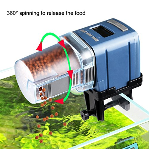 COODIA Auto Fish Food Feeder Battery Operated Automatic Aquarium Tank Timer Feed Fish, 4 times Max a Day, Capacity Adjustable, LED (Auto Fish Feeder)