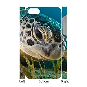 3D iPhone 4/4s Case Green Sea Turtle, iPhone 4/4s Case Sea Creature Cheap For Girls, [White]