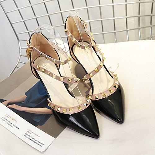 fine Cinturino scarpe nero con Rivetto sandali 35 punta 65wxgAqAB