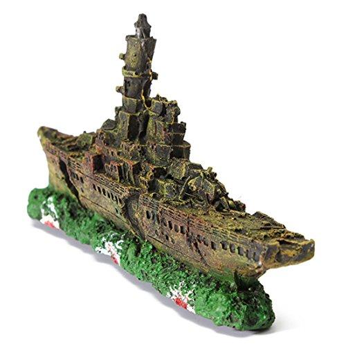 Corner Biz Aquarium Decorations Destroyer Navy War Ship Resin Ornament For Fish Tank