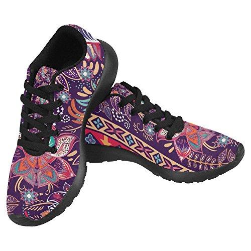 Interestprint Femmes Jogging Running Sneaker Léger Aller Facile À Pied Confort Décontracté Chaussures De Course Beau Vintage Floral Paisley Motif Multi 19