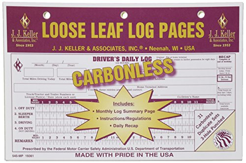 (J.J. Keller 19361 Loose-Leaf Driver's Daily Log Book)