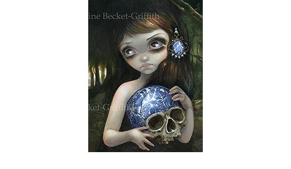 Jasmine Becket-Griffith art BIG print SIGNED Blue Willow Skull white porcelain