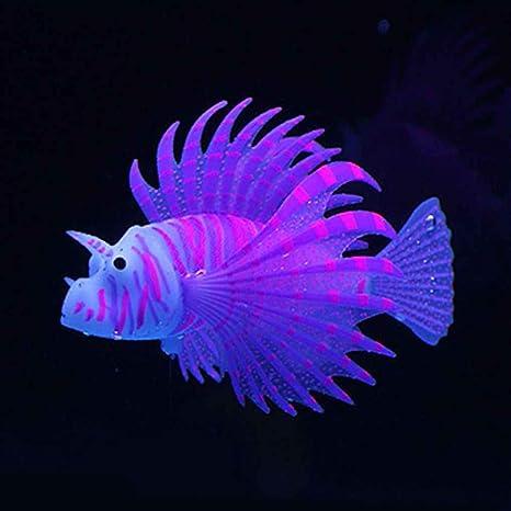 Lorsoul Paisajismo Acuario Decoración Fluorescente Simulación Glow Lion Fish Tropical Fish Tank Ornamental