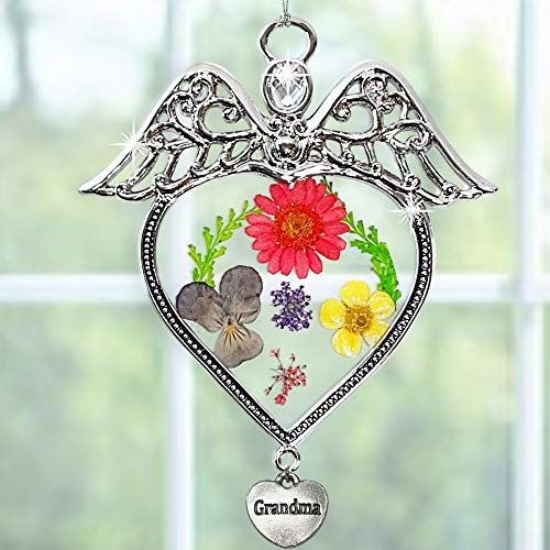 BANBERRY DESIGNS Grandmother Suncatcher - Angel Sun Catcher with Grandma Engraved on Heart Charm- Dried and Pressed Flower Window Ornament- Nana Gifts ()