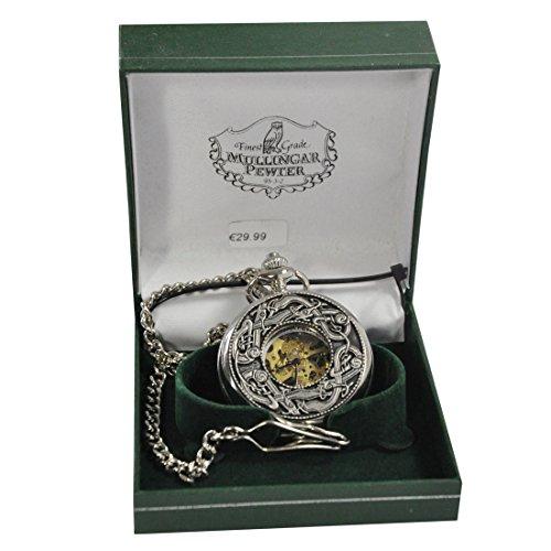 Mullingar Pewter Open Faced Pocket Watch With Kells (Designer Pocket Watch)