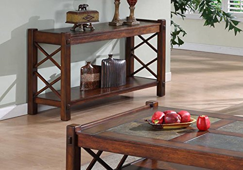 Slate Top Table (Monarch Specialties Slate top X Motif Console Table, Dark Brown, 64