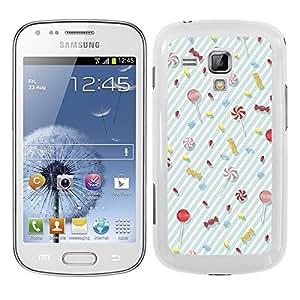 Funda carcasa para Samsung Galaxy S DUOS diseño ilustración estampado piruletas pasteles caramelos fondo azul borde blanco
