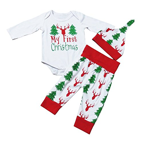 Caibiet Newborn Baby Boy Girl Christmas Outfits,My First Christmas Long Sleeve Bodysuit+Xmas Tree Deer Pants+Hat Infant 3Pcs/Set (90(6-12 Months), White/Red)