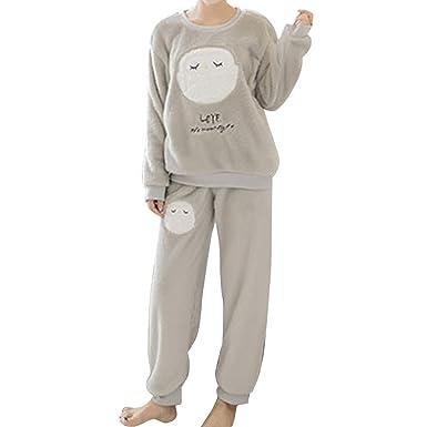 GWELL Damen Pyjama Eule Motiv Schlafanzug Set Flanell Zweiteiliger Langarm Nachtwäsche Winter grau