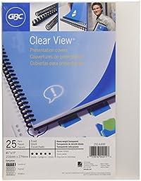 GBC Designer Premium Plus View Presentation Binding Covers, Square Corners, Frost, 25 Pieces Per Box (2514499)