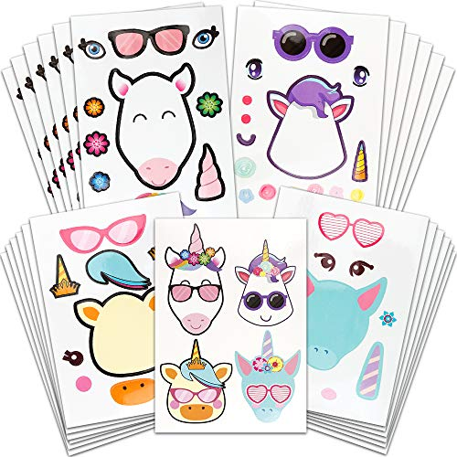 24pcs Make A Unicorn Stickers for Kids, YGDZ 4 Different Patterns Unicorn Stickers, Unicorn Themed Birthday Stickers for Boys Girls Kids, Party Favors for Goodie Bags