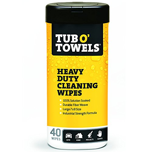"Tub O Towels HeavyDuty 7"" x 8"" Size MultiSurface Cleaning Wipes, 40 Count Per Canister"