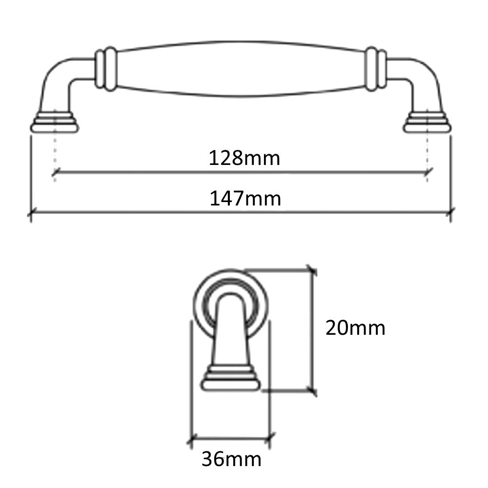 AERZETIX 4x Tirador para caj/ón alacena puerta mueble armario Escaut oro cer/ámico 128mm C41507