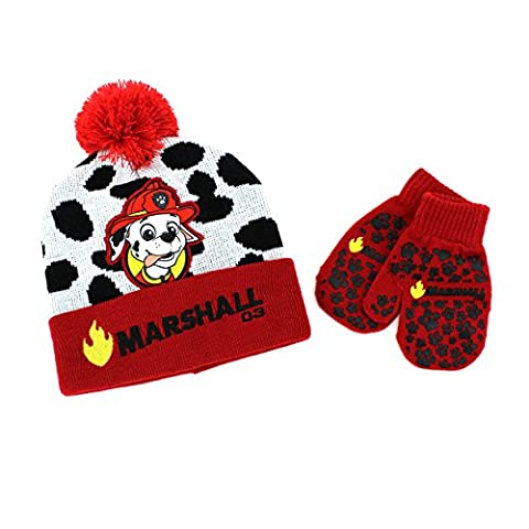 Disney Nickelodeon Toddler Boys Hat and Mittens Set (Red Paw Patrol Marshall)