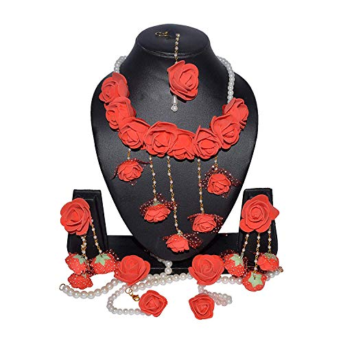 YouBella Jewellery Bollywood Ethnic Bridal Wedding Traditional Floral Gota Patti Indian Necklace Set, Earrings, Bracelet and Maang Tiika for Women Haldi and Mehendi Occassion (Red)