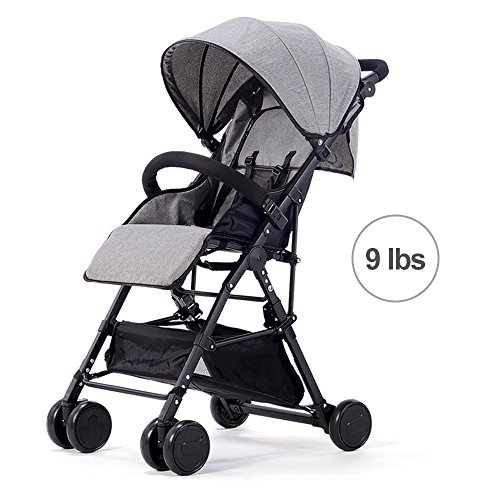 SpringBuds Lightweight Baby Stroller Easy to Fold Ultralight Toddler Portable Pushchair with Recline Seat-Grey Review