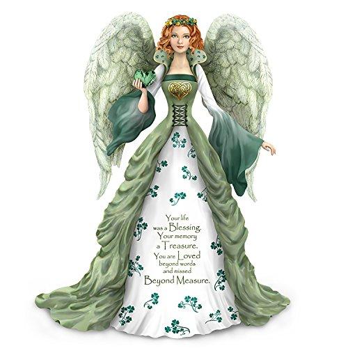 The Hamilton Collection Thomas Kinkade Irish Inspired Bereavement Angel Figurine with Green Faux Gem