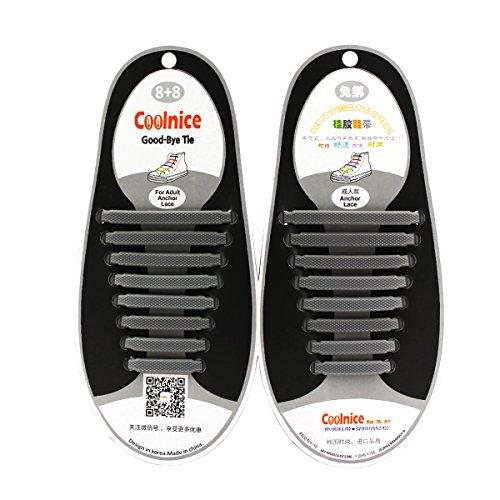 Coolnice de Cordones Elásticos para adultos y niños - ambientalmente seguro a prueba de agua Gray