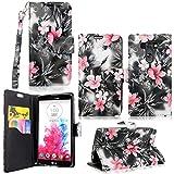 LG G Vista Case-Cellularvilla Pu Leather Wallet Card Flip Open Pocket Case Cover Pouch For LG G Vista VS880 (Verizon/AT&T) (Black Pink Flower)