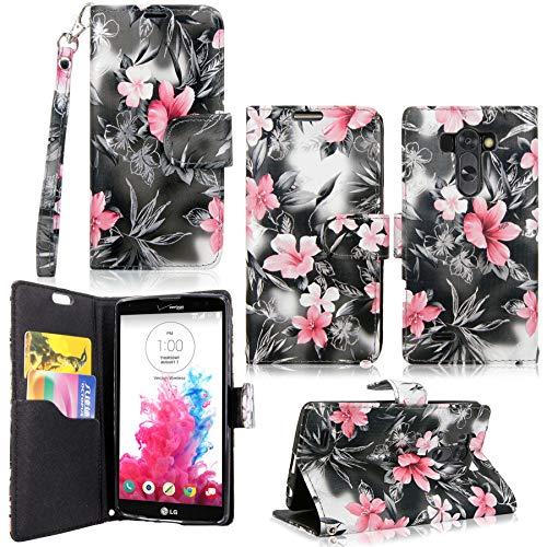LG G Vista Case-Cellularvilla Pu Leather Wallet Card Flip Open Pocket Case Cover Pouch for LG G Vista VS880 (Verizon/AT&T) (Black Pink Flower) (Color Case G Lg Vista)