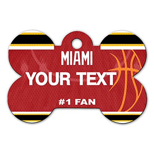 BleuReign(TM) Personalized Custom Name Basketball Miami License Plate Auto Tag Bone Shaped Metal Pet ID Tag with Contact Information