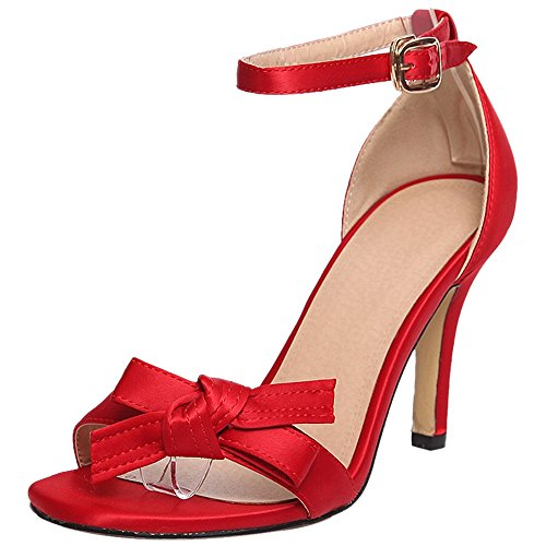 TAOFFEN Women Ankle Strap Sandals Wedding Red LOPVNMUjIx